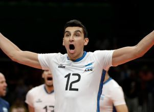 Bruno Lima - Argentina's Bruno Lima celebrates after defeating Russia during a men's preliminary volleyball match at the 2016 Summer Olympics in Rio de Janeiro, Brazil, Tuesday, Aug. 9, 2016. (AP Photo/Matt Rourke) - Vóley Francia Chaumont Volley Ball 52 Bruno Lima