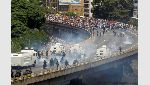 Demonstrators clash with riot police during the so-called