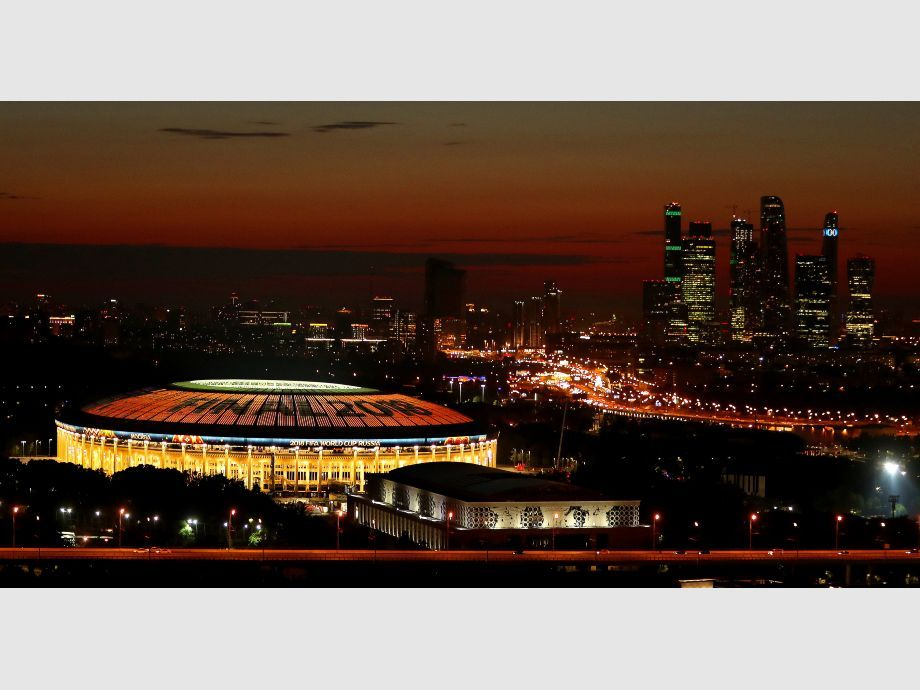 The Luzhniki stadium is illuminated prior to the upcoming World Cup final between France and Croatia in Moscow - Mundial de Rusia 2018