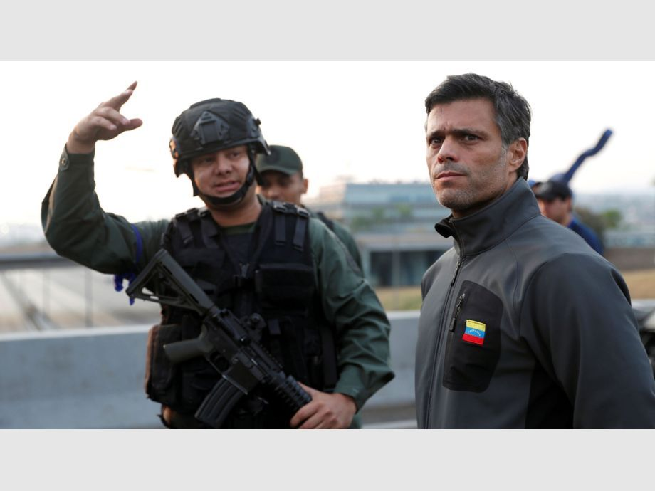 Venezuelan opposition leader Leopoldo Lopez is seen outside Generalisimo Francisco de Miranda Airbase in Caracas - Venezuelan opposition leader Leopoldo Lopez is seen outside Generalisimo Francisco de Miranda Airbase
