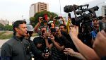 Venezuelan opposition leader Leopoldo Lopez talks to the media outside Generalisimo Francisco de Miranda Airbase in Caracas - Venezuelan opposition leader Leopoldo Lopez talks to the media outside Generalisimo Francisco de Miranda Airbase