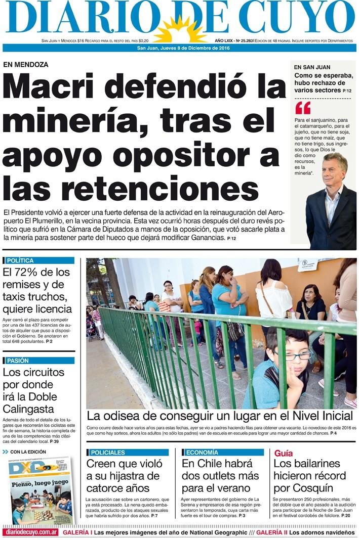 Tapa 8 de Diciembre de 2016   Diario de Cuyo - Noticias de San Juan ... 520434c6c7