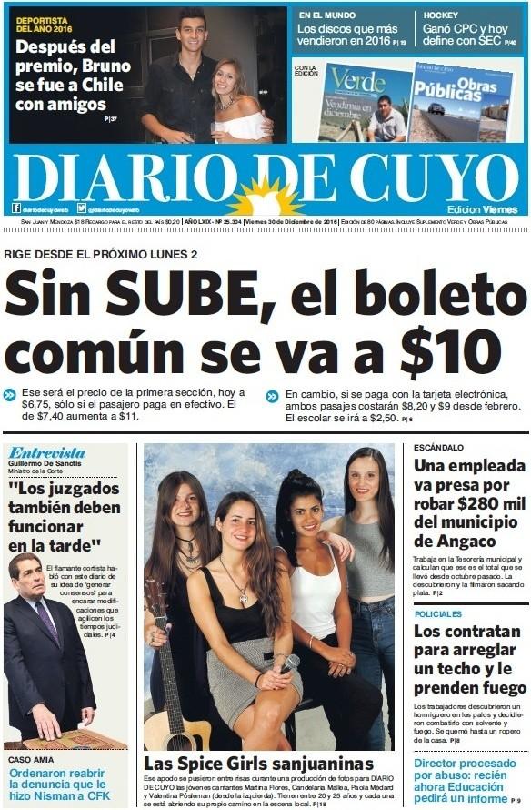 Tapa  De Diciembre Del  Diario De Cuyo Noticias De San Juan Argentina Y El Mundo