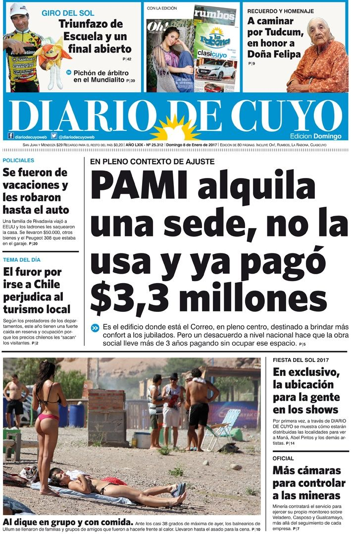Tapa  De Enero Del  Diario De Cuyo Noticias De San Juan Argentina Y El Mundo
