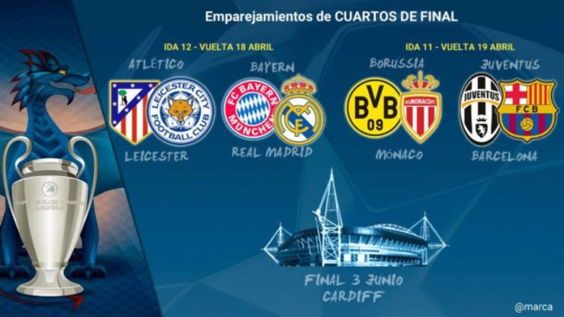 Champions League: así son los cruces por los cuartos de final  