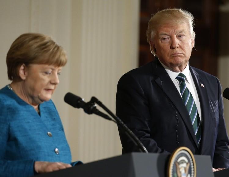 Donald Trump recibe a Angela Merkel en la Casa Blanca