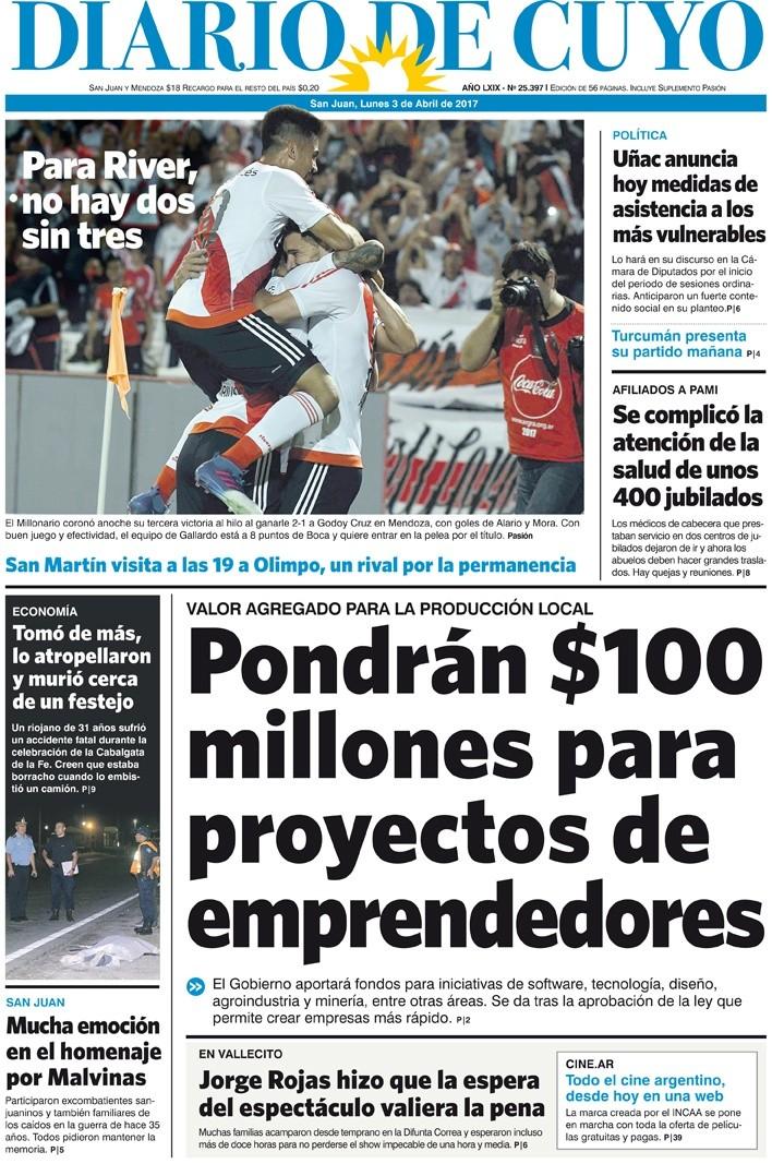 Tapa 3 de abril de 2017 diario de cuyo noticias de san for Chimentos de hoy en argentina