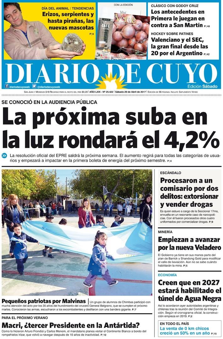 Tapa  De Abril De  Diario De Cuyo Noticias De San Juan Argentina Y El Mundo