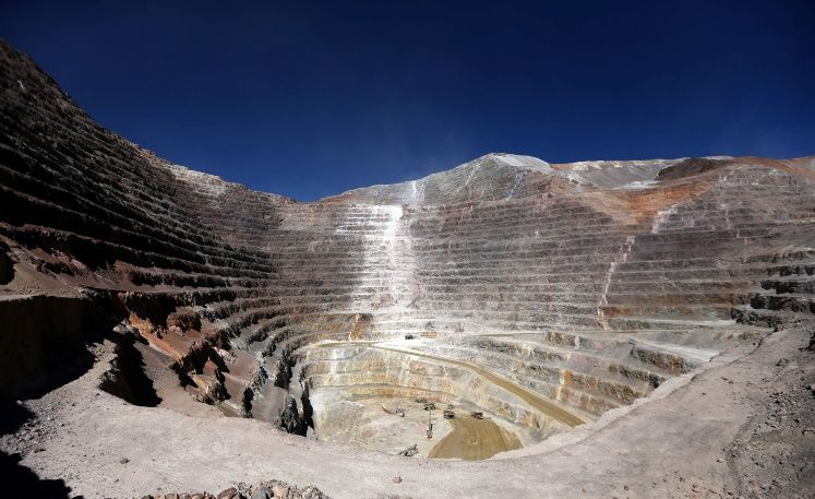 An open pit at Barrick Gold Corp's Veladero gold mine is seen in Argentina's San Juan province