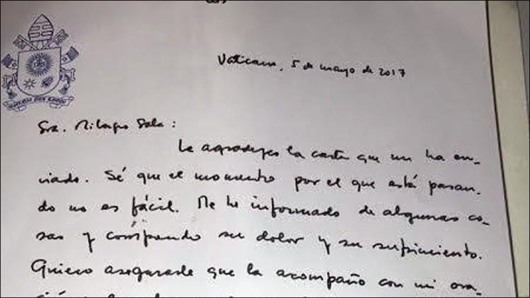 El Papa le manifestó acompañamiento a Milagro Sala