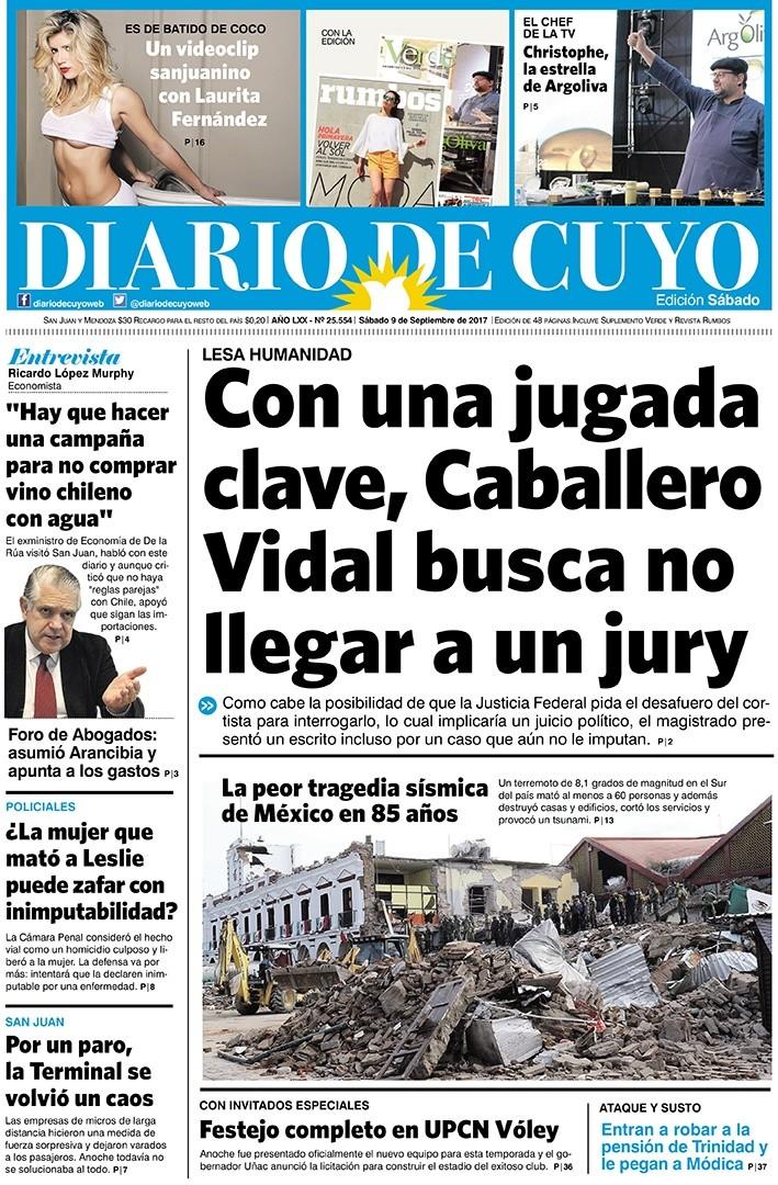 Tapa Edición 9 de Septiembre del 2017   Diario de Cuyo - Noticias de ... 3cda9fc294