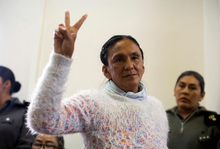 Sala, the leader of the Tupac Amaru social welfare group, gestures during her trial in San Salvador de Jujuy