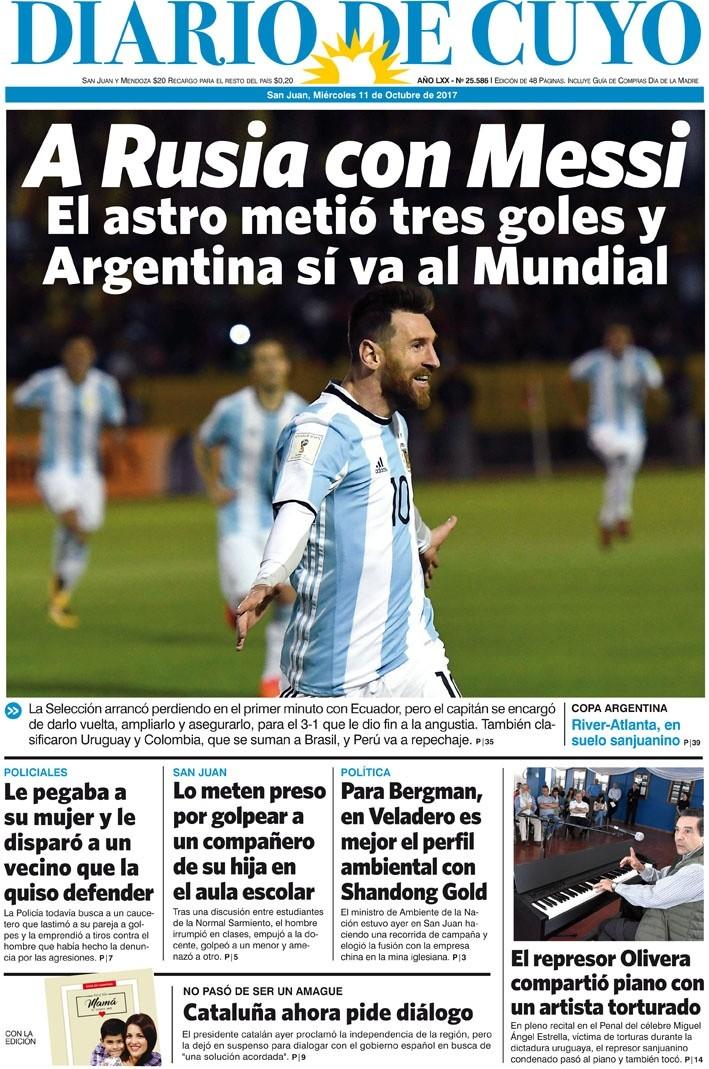 Tapa Edición 11 de Octubre de 2017   Diario de Cuyo - Noticias de ... 77c9a05df5