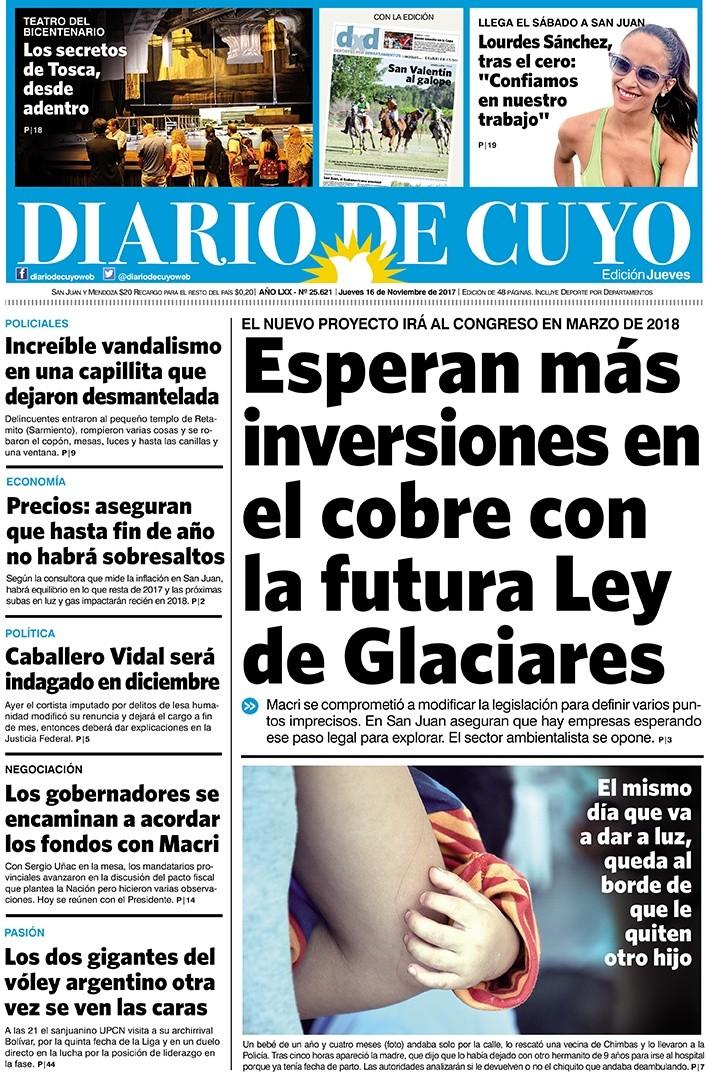 Tapa Edición 16 de Noviembre del 2017   Diario de Cuyo - Noticias de San  Juan, Argentina y el mundo 4cb60839c4