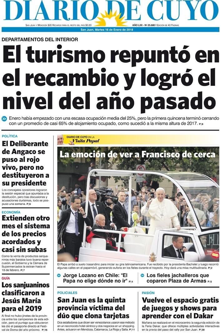 Tapa edici n 16 de enero del 2018 diario de cuyo for Noticias actuales de espectaculos