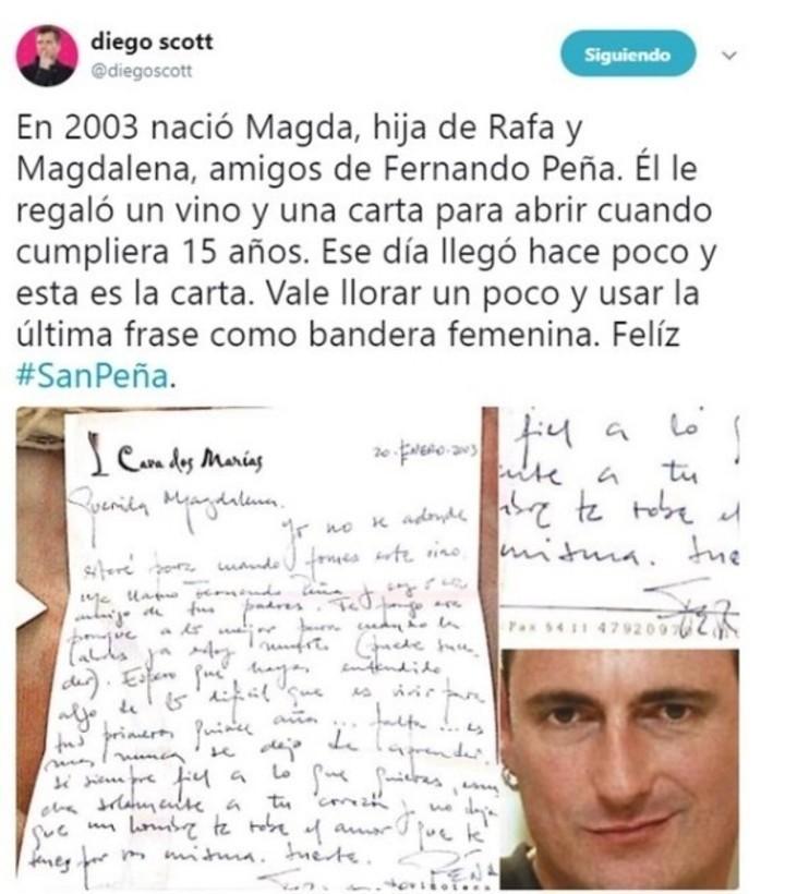 Conmovedora carta de Fernando Peña para la hija de sus amigos
