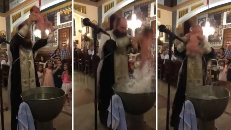 Video El polémico bautizo de un recién nacido