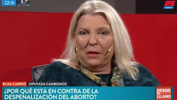 Soy antiabortista porque nunca lo pude resolver — Elisa Carrió