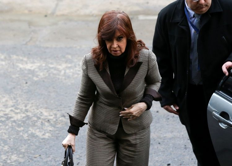 Former Argentine President Cristina Fernandez de Kirchner arrives at the Justice building in Buenos Aires
