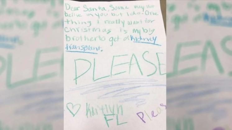 Le pidió a Papá Noel un riñón para su hermano — Emotivo