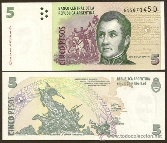Resultado de imagen para billetes de 5 pesos argentinos
